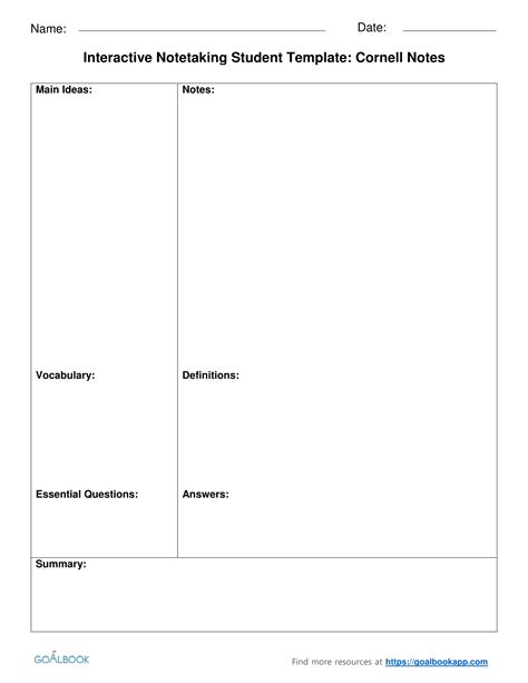Interactive Notetaking Udl Strategies Interactive Notes Template