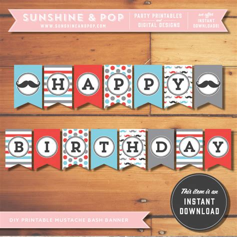 printable mustache birthday banner instant download mustache party printable happy birthday