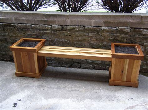 wooden bench with planters reclaimed poplar planter bench by warnimct lumberjocks