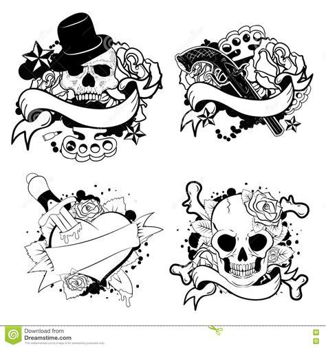 tattoo old school vector old school tattoo set stock vector illustration of