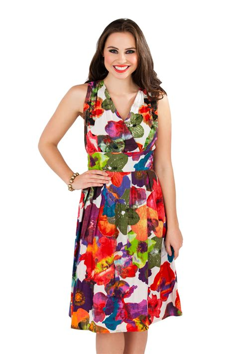 womens summer dress floral mid knee length 100 cotton
