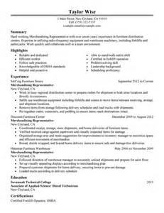 Merchandising Representative Sle Resume by Merchandising Representative Resume Exles Production Resume Sles Livecareer