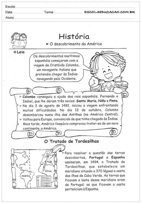 Atividades de História 5º ano - Descobrimento da América