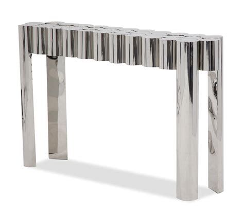 stainless steel sofa table la tania ultra modern sofa table in a silver stainless