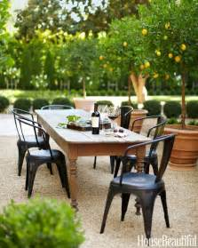 Outside Dining Table And Chairs Outdoor Dining Area In California Farmhouse Table Industrial Chairs Garden Outdoor