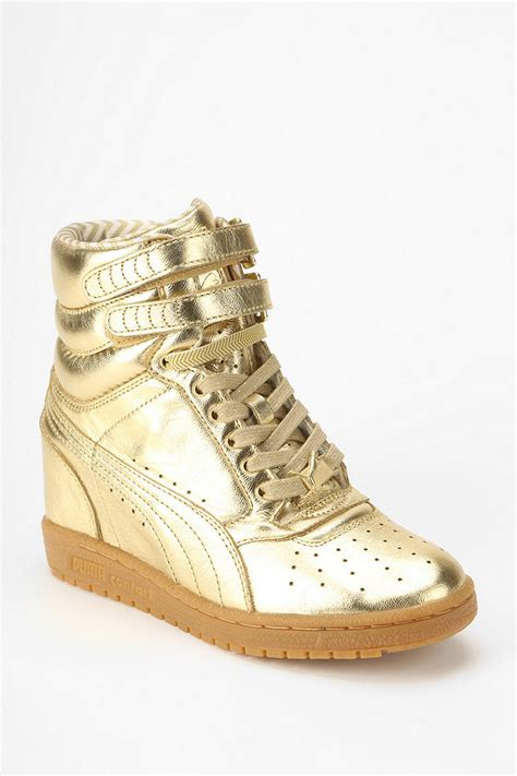 gold wedge sneaker outfitters wedge high top sneaker in gold lyst