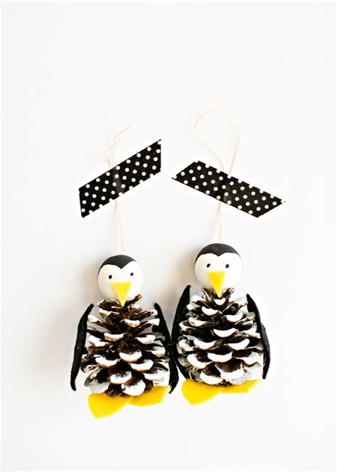 diy pine cone ornaments hello wonderful pine cone penguin ornament craft
