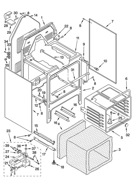 chassis parts diagram whirlpool wlp85800 free standing electric timer stove
