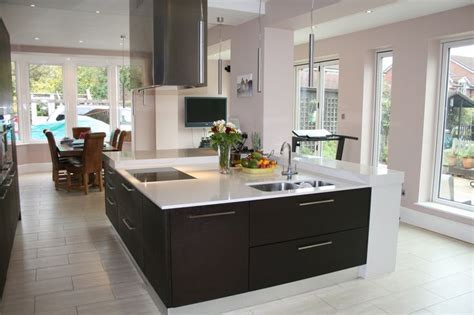 large contemporary square kitchen island built to