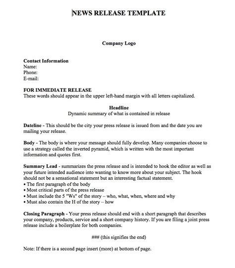 100 word press release template standard press