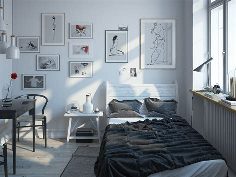 scandinavian bedroom design for with a white color