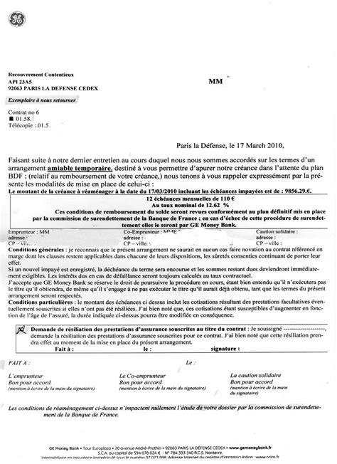 Exemple De Lettre Surendettement Arrangement Amiable Temporaire Attente Du Plan Bdf Lettres Et Propos Abusifs Des Cr 233 Anciers