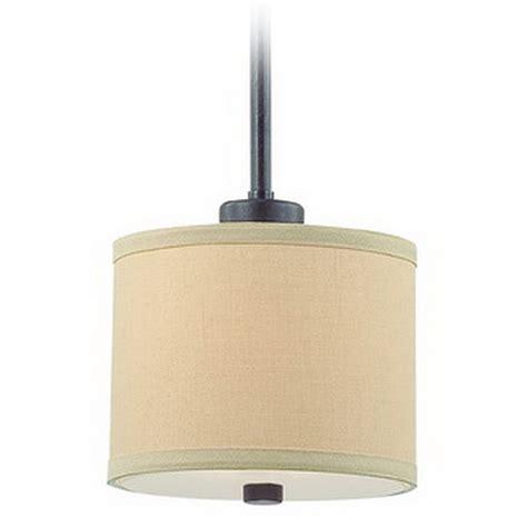 Mini Drum Pendant Lighting Iron Finish Mini Pendant Light With Beige Drum Shade 2941 34 Destination Lighting