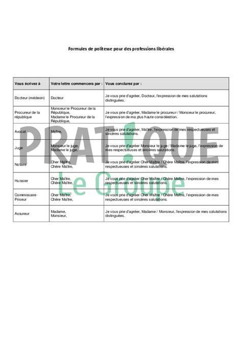 Exemple De Lettre Formule Politesse formules de politesse pour des professions lib 233 rales avocat huissier notaire assureur