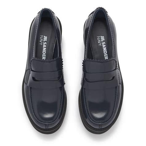 jil sander loafer jil sander navy s leather platform loafers navy