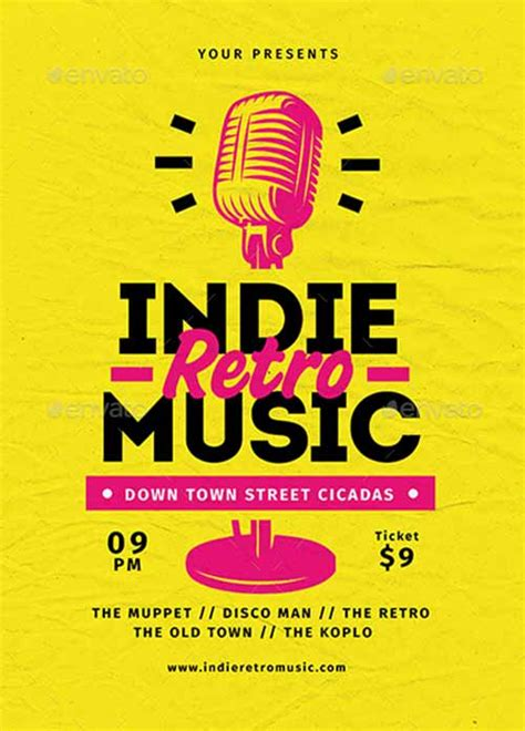 template flyer music ffflyer download the indie retro music flyer template