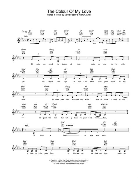 colour chords the colour of my love chords by celine dion melody line
