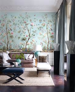 Interior Wall Murals Designing Interiors With Chinoiserie Inspired Wallpaper