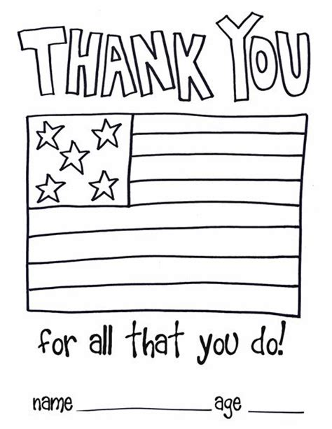 thank you card template for members of armed services children thank you color page soldiers and as a thank