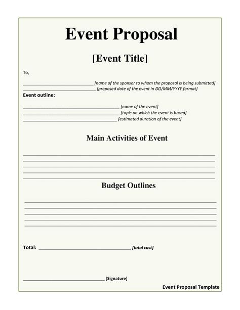 10 best images of event proposal template event planning