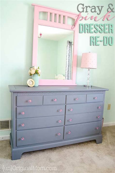 girls bedroom dresser gray and pink dresser makeover for a big girl room