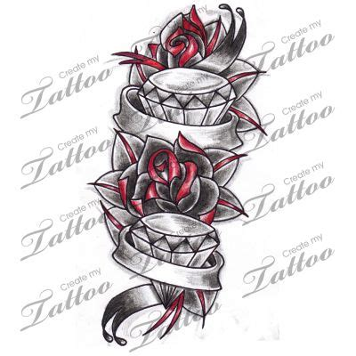 rose and banner tattoo designs marketplace roses diamonds with banners