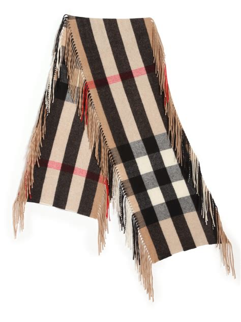 Hm Shark Check Shawl lyst burberry fringed camel check scarf in brown for
