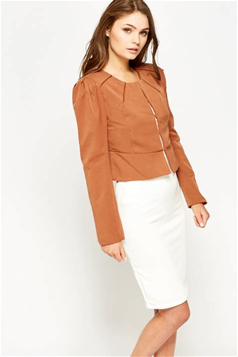 Contrast Trim Cropped contrast trim cropped blazer coffee just 163 5