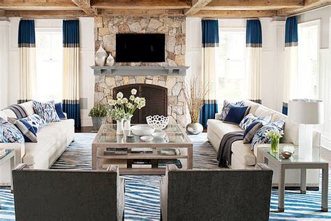 color blocking living room muse interiors cococozy color block drapes drapery curtains blue gray white living room