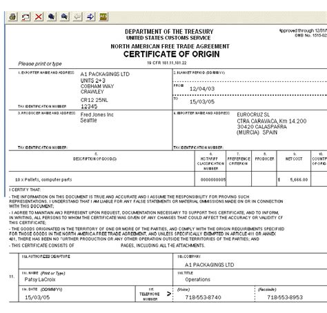 Nafta Certificate Of Origin Template image gallery nafta certificate of origin