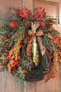 Autumn Wreaths Front Door Autumn Front Door Wreath Beaded Indian Corn Beautiful Fall Leaves