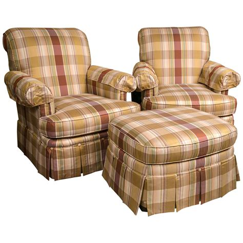 plaid chair and ottoman pair of custom quality silk upholstered plaid club chairs
