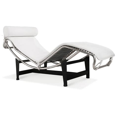 white leather chaise lounge chair le corbusier la chaise chair lc4 chaise lounge white