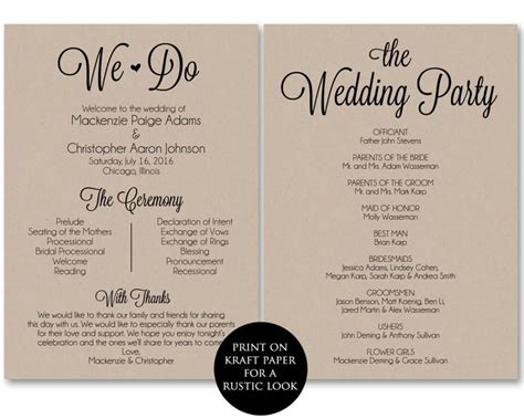 wedding day program template ceremony program template wedding program printable we