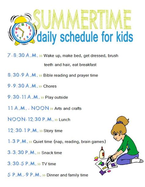 daily summer schedule printable summertime daily schedule and chore chart for kidsliving