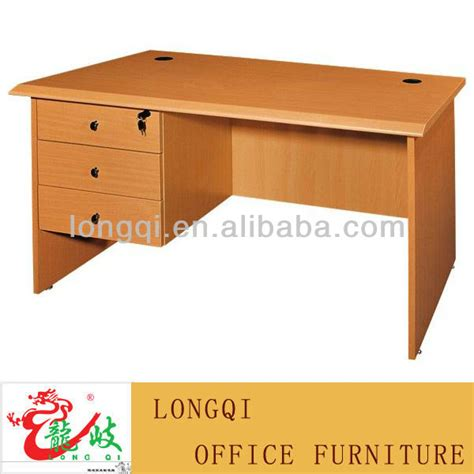 modern new design three lockable drawer with cabinet MDF grain drawing surface office table