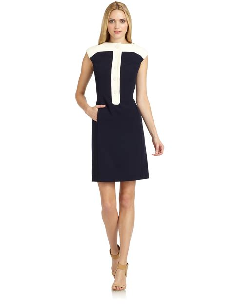 ponte knit dresses raoul colorblock ponte knit dress in blue ink lyst