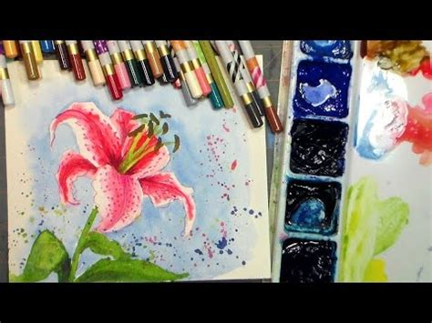 watercolor tutorial on youtube watercolor stargazer lily tutorial youtube