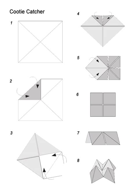 Fortune Teller Origami Template - make a fortune teller tree farm