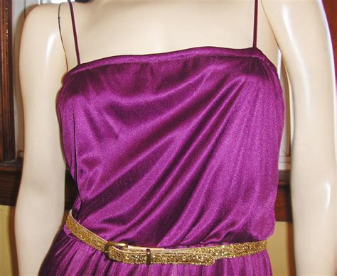 A Shimmery Disco by Glam Goddess 70s Shimmery Plum Slinky Disco Dress S M