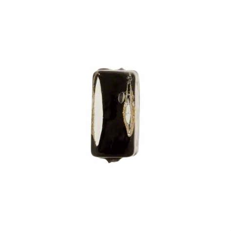 P Square Tosca murano glass bead black tosca square gold splashes 12mm