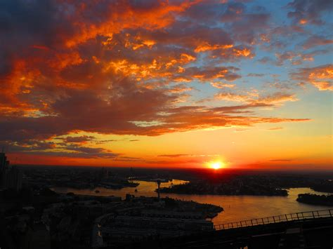 Sun Set sunset in sydney from harbour bridgebridge climb sydney