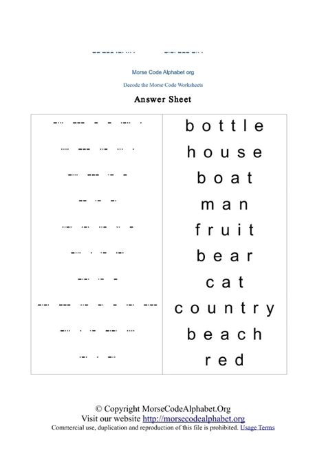 Word Decoding Worksheets by Morse Code Decode Quiz Educating