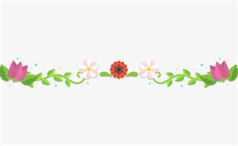 Line Flower the green leaves of flowers border parting line dividing