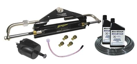 baystar hydraulic boat steering baystar complete front mount hydraulic steering kit suits