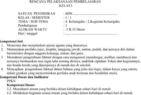 Kurikulum 2013 Rev 2016 Kelas 1 Tema 3 Kegiatananku Dikbud rpp kurikulum 2013 kelas 1 tema 4 subtema 2 pembelajaran 1