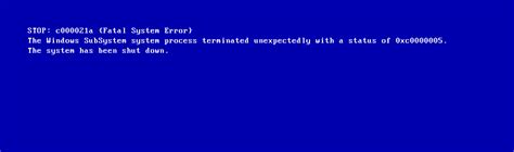 fix microsoft exchange error message windows xp vista windows 0xc000021a fix for windows xp vista 7 8 8 1 10