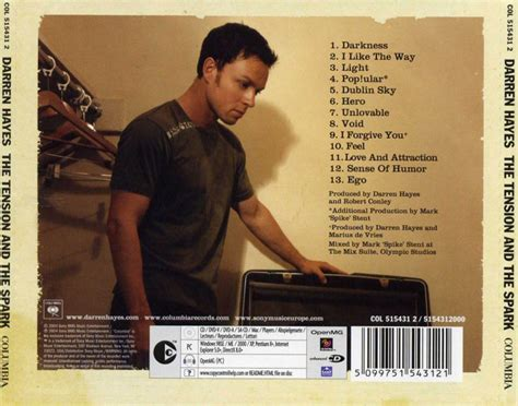 Cd Darren The Tension And The Spark car 225 tula trasera de darren the tension and the