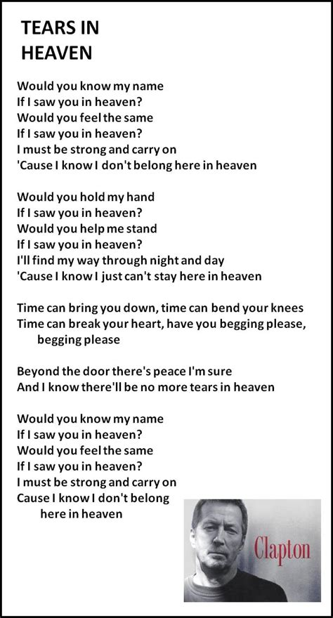 give it away testo tears in heaven eric clapton written for his