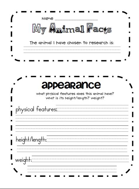 Research Paper Template 3rd Grade 4th Grade Animal Research Project Template